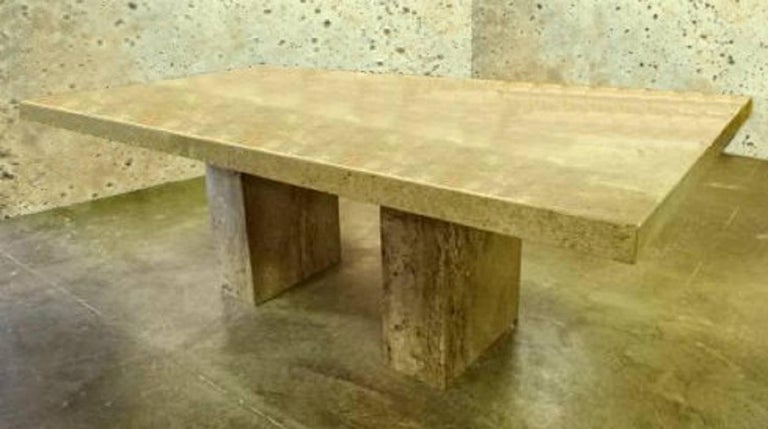 An Impressive Double Pedestal Dining Table By Stone International For Robb Stucky Made