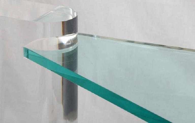 20th Century Rare Triangular Lucite Cocktail Table by Karl Springer For Sale