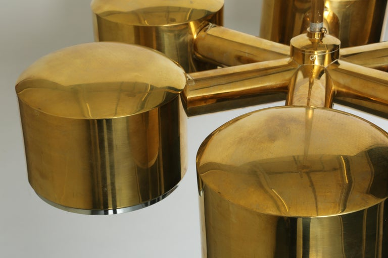 Mid-20th Century Hans-Agne Jakobsson Brass Chandelier For Sale