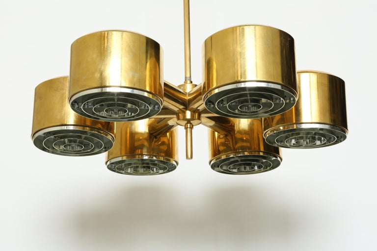 Hans-Agne Jakobsson Brass Chandelier For Sale 5