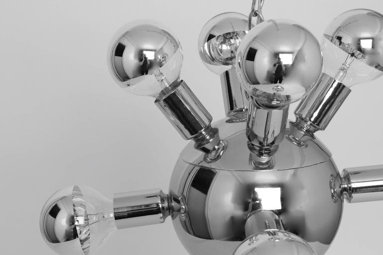 Mid-Century Modern Sputnik Chandelier in Chrome For Sale