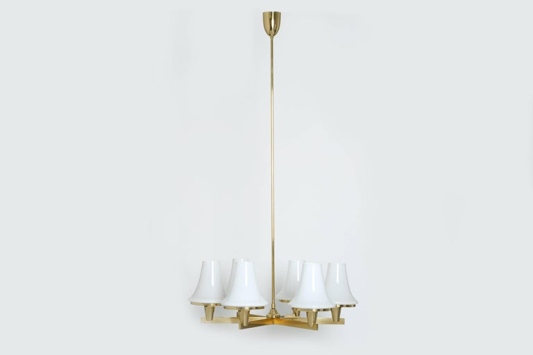 Hans-Agne Jakobsson chandelier. Six branches holding large glass bells. Sweden 1960s. Matching table lamp available.