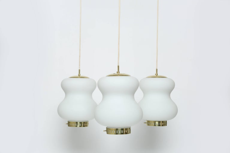 Mid-Century Modern Stilnovo Ceiling Pendant with Three Lights For Sale