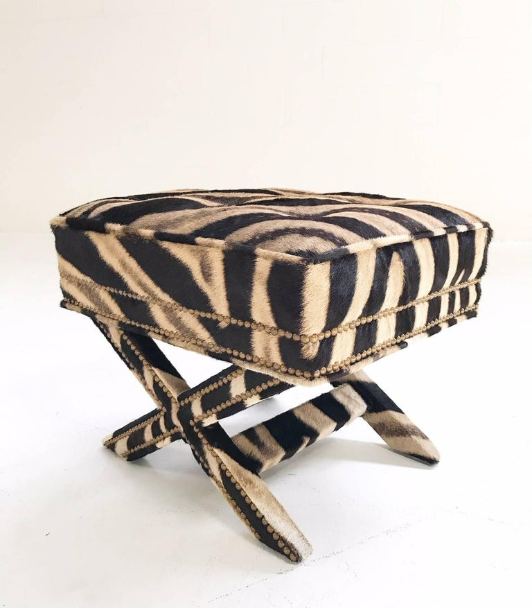 Modern Vintage Billy Baldwin Style X Bench Ottoman Reupholstered in Zebra Hide For Sale