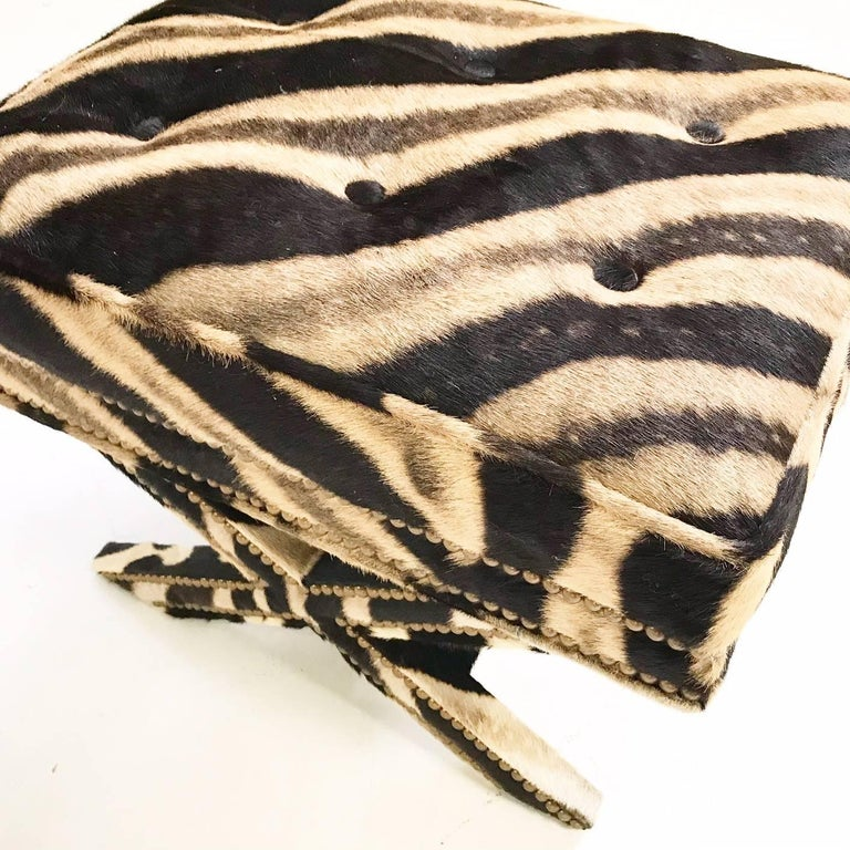 Vintage Billy Baldwin Style X Bench Ottoman Reupholstered in Zebra Hide In Excellent Condition For Sale In SAINT LOUIS, MO