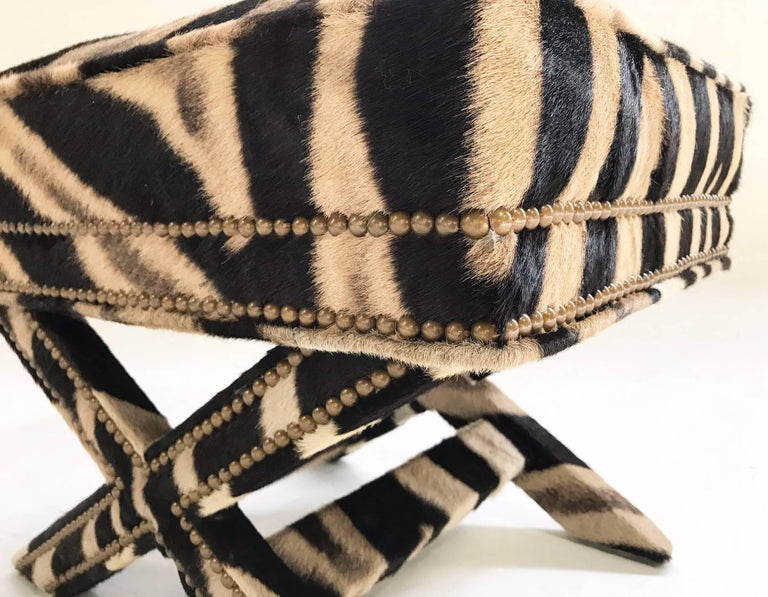 North American Vintage Billy Baldwin Style X Bench Ottoman Reupholstered in Zebra Hide For Sale