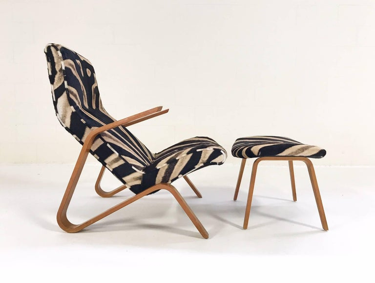 Eero Saarinen for Knoll Grasshopper Chair and Ottoman in Zebra Hide For Sale 1