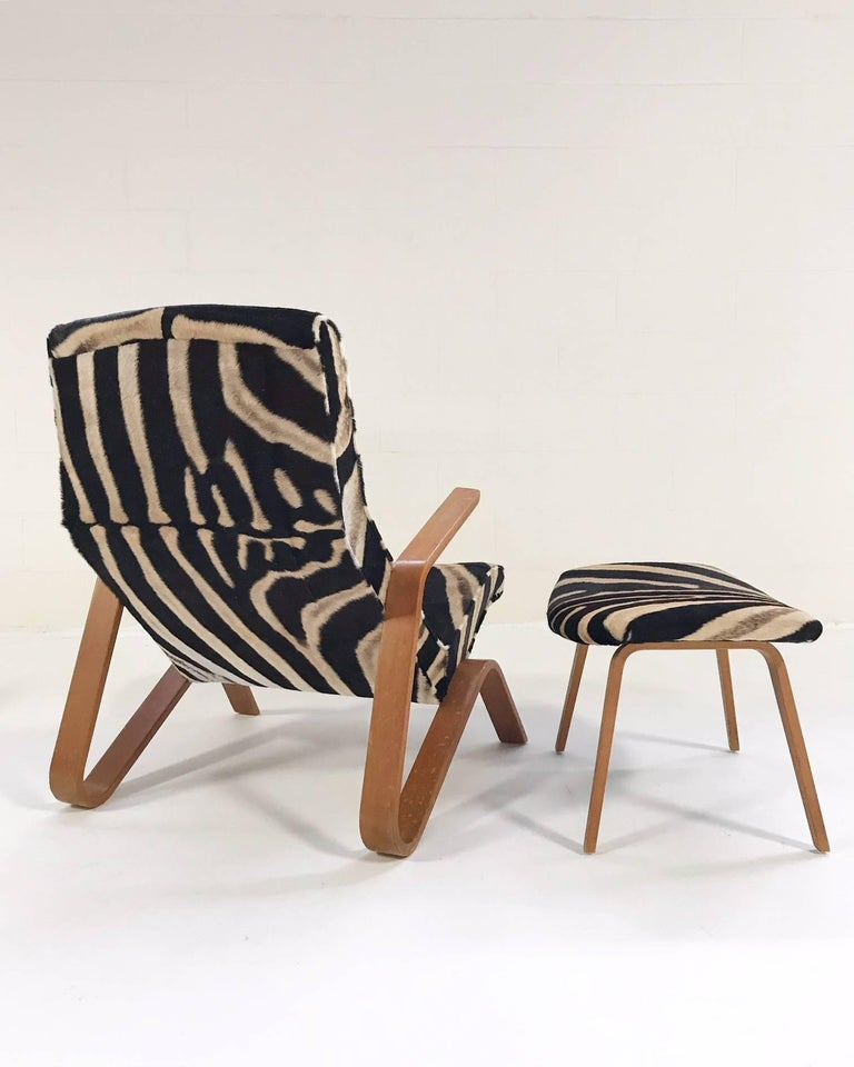 Mid-Century Modern Eero Saarinen for Knoll Grasshopper Chair and Ottoman in Zebra Hide For Sale
