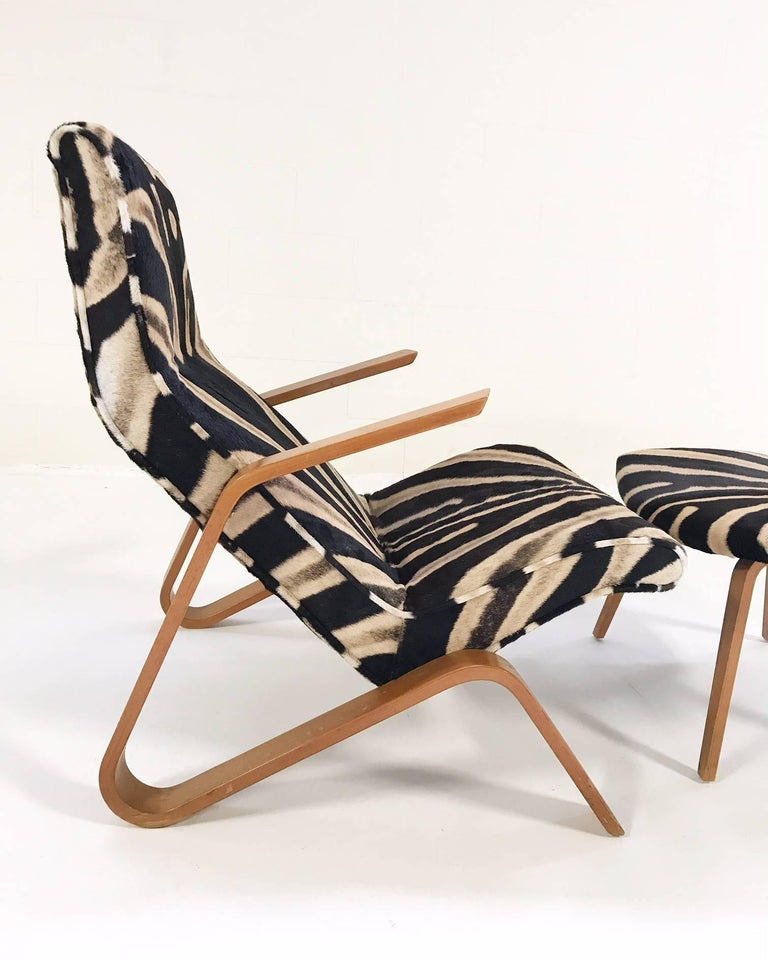 Eero Saarinen for Knoll Grasshopper Chair and Ottoman in Zebra Hide For Sale 2