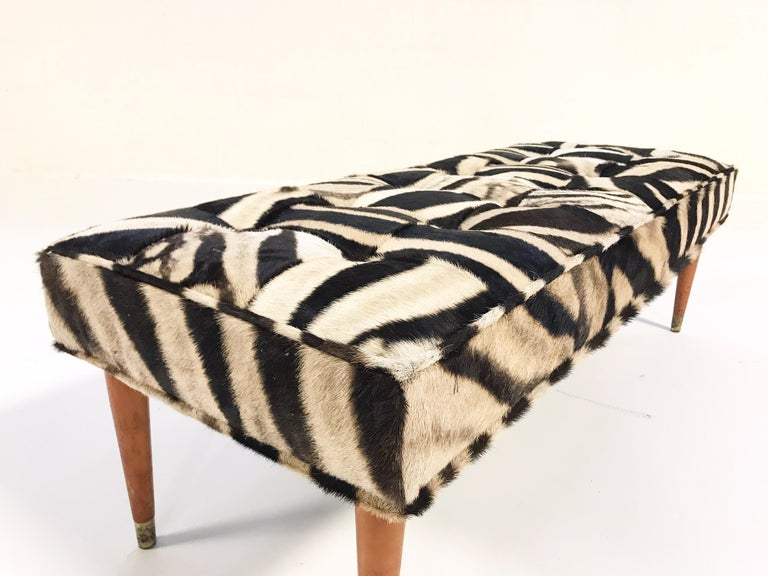 Mid-Century Modern Vintage Milo Baughman Style Bench Restored in Patchwork Zebra Hide For Sale