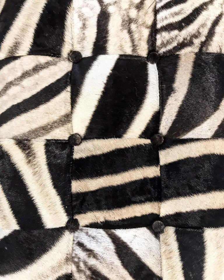 Vintage Milo Baughman Style Bench Restored in Patchwork Zebra Hide In Excellent Condition For Sale In SAINT LOUIS, MO