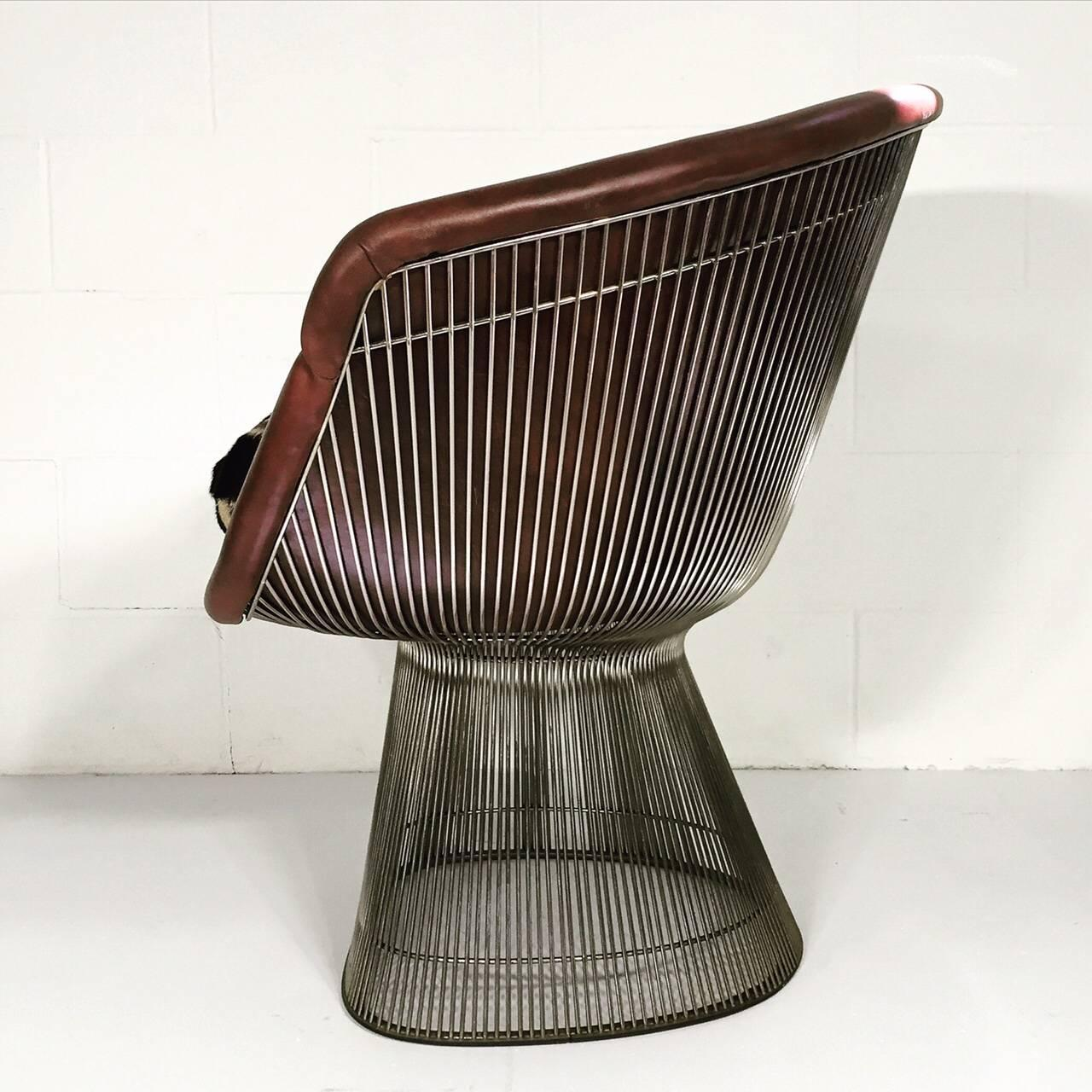 warren platner for knoll lounge chair with zebra hide cushion at