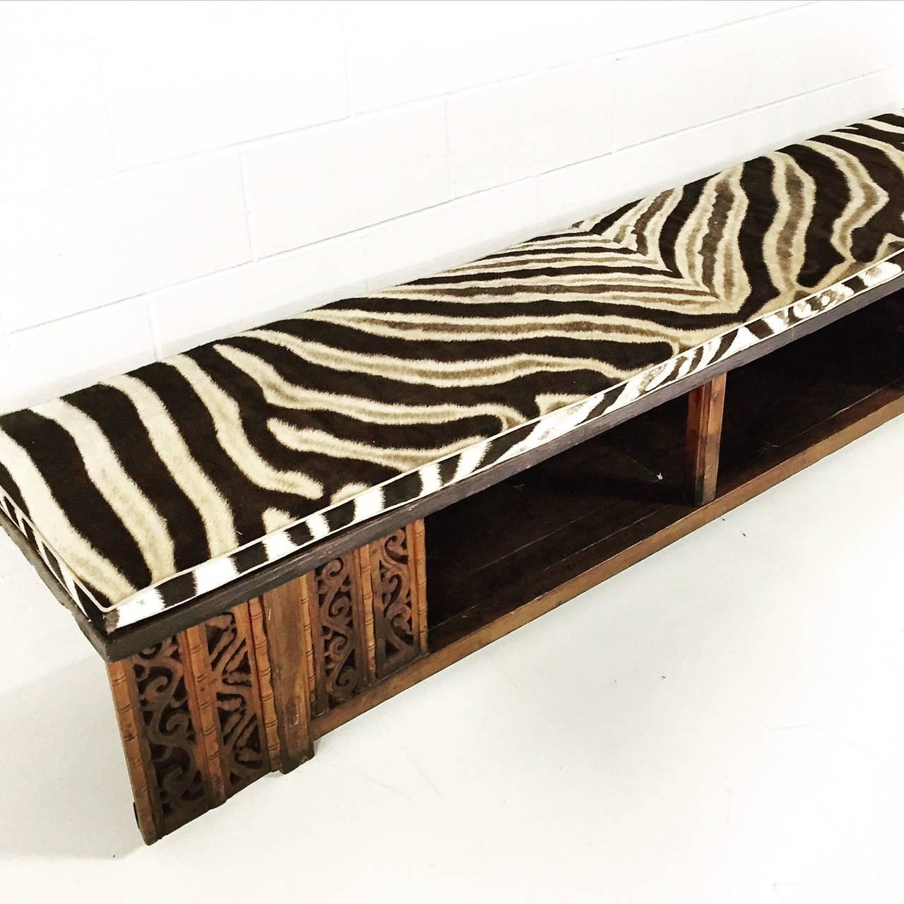 Vintage Carved Chinese Bench With Zebra Hide Cushion For Sale At 1stdibs