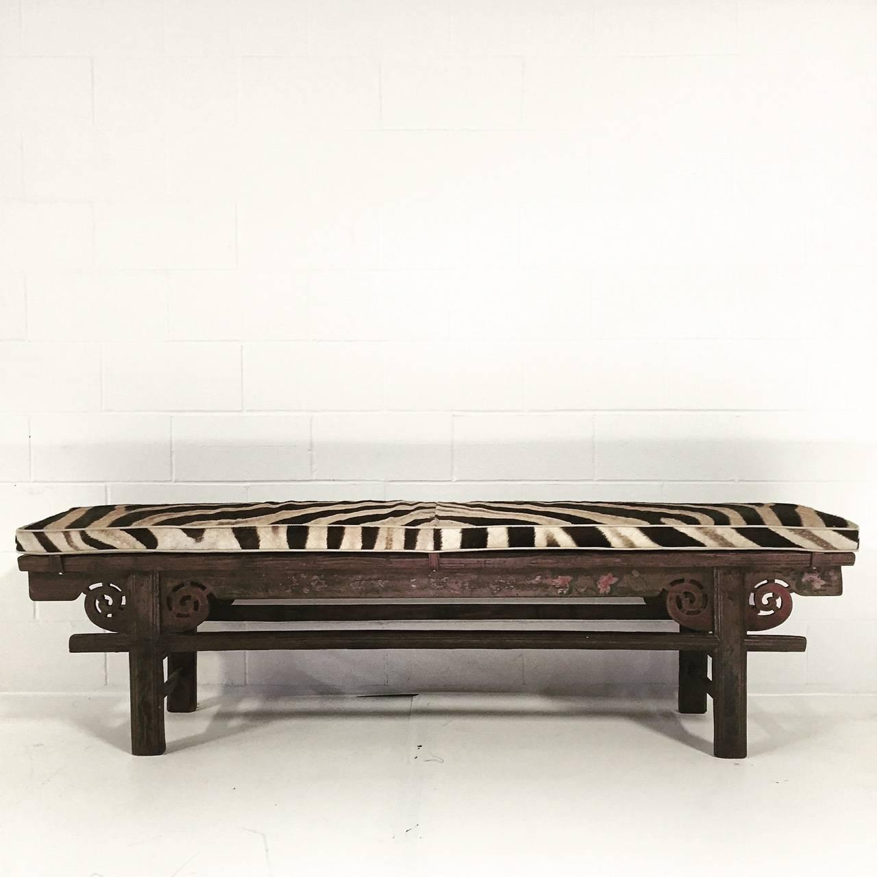 Vintage Chinese Painted Farmhouse Bench with Zebra Hide Cushion at 1stdibs