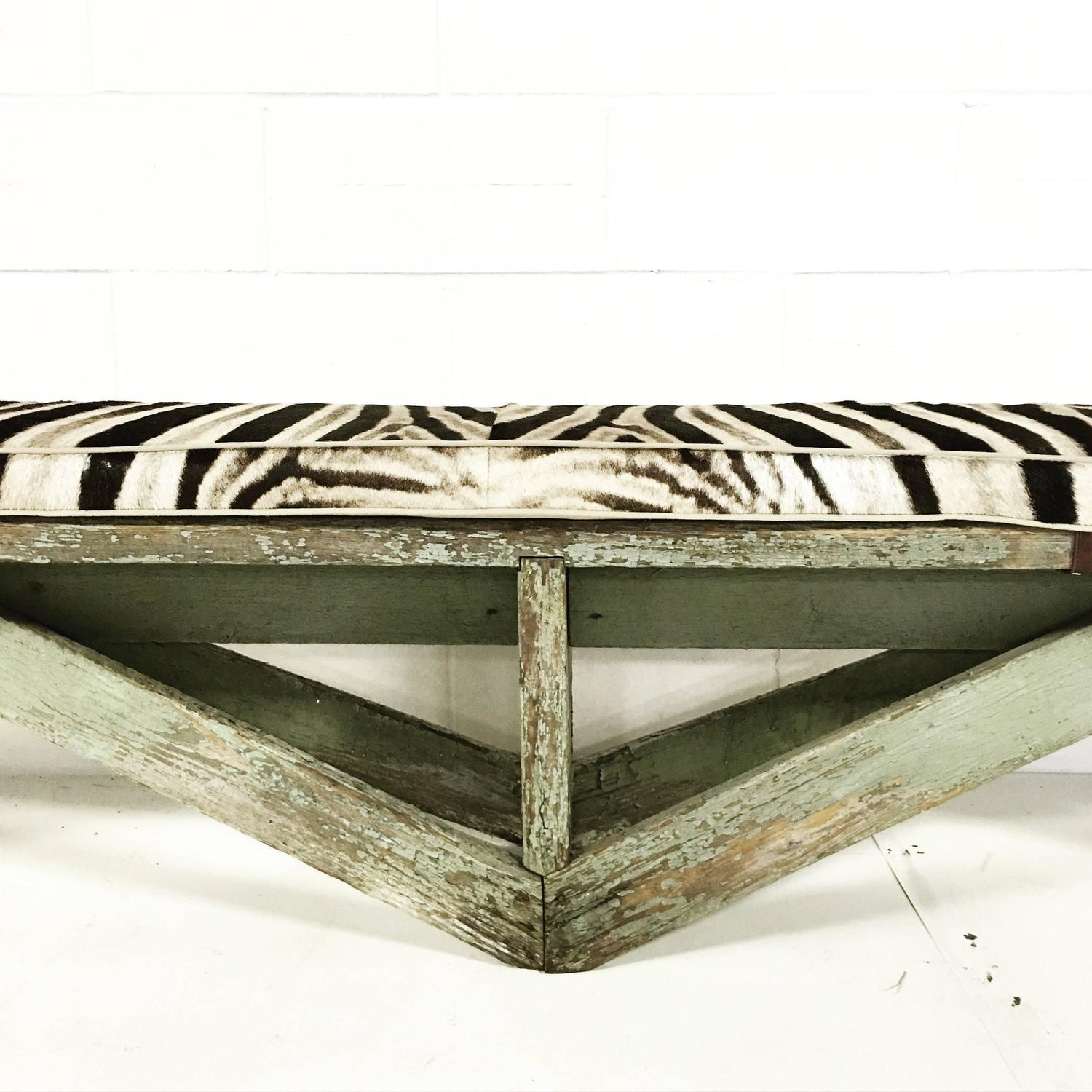 Extra Long Vintage Farmhouse Bench with Zebra Cushion For Sale at 1stdibs