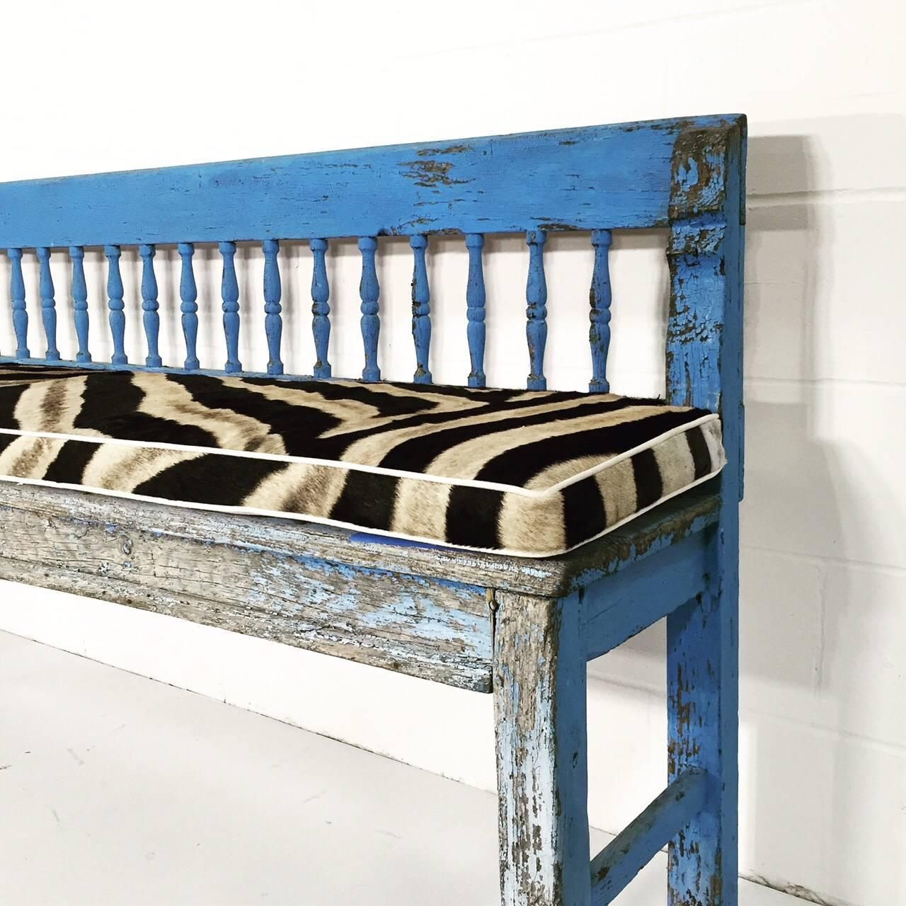 Vintage Blue Farmhouse Bench with Zebra Hide Cushion For Sale at 1stdibs