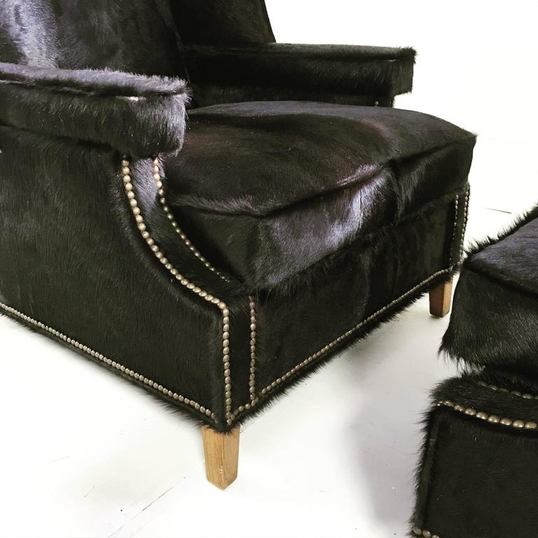 Vintage Wingback Chairs in Natural Black Brazilian Cowhide