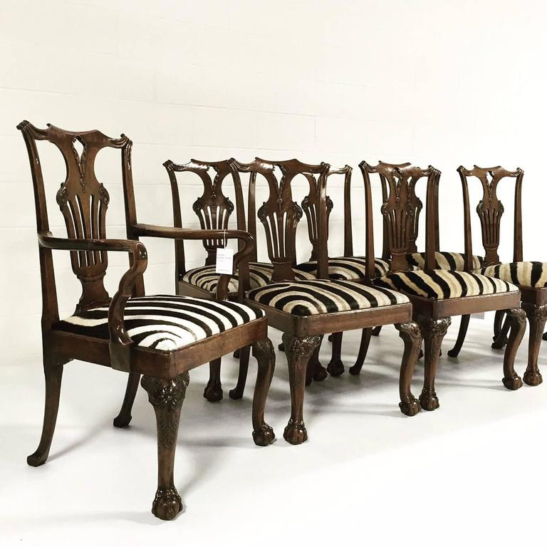 A fine set of eight George II walnut dining chairs comprising two arms and six sides of very fine rich color, each having a scrolling top rail with sweeping shoulders and carved rolled ears over a pierced foliate scroll carved splat, each having a