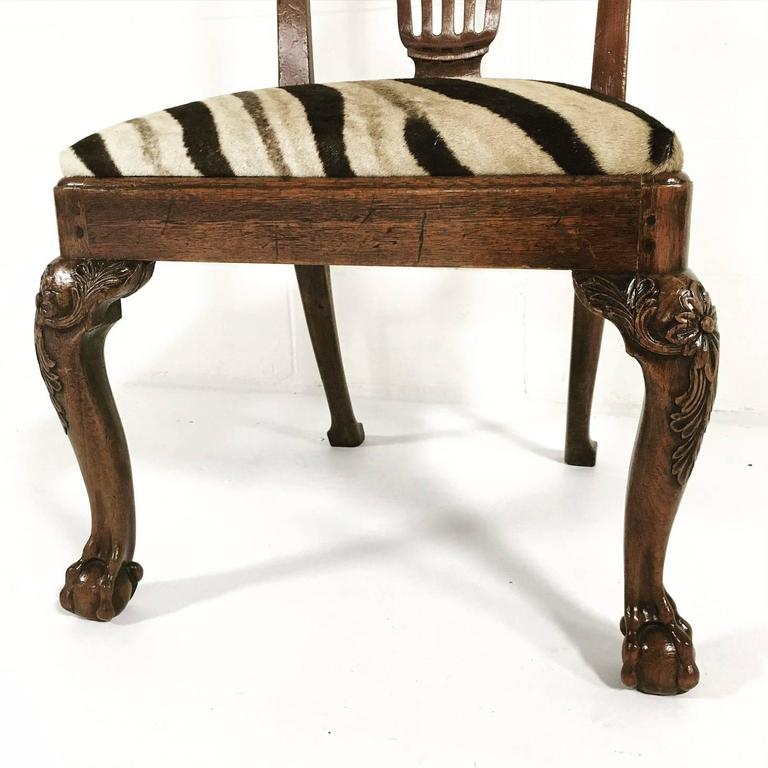 18th Century George II Walnut Dining Chairs in Zebra Hide, Set of Eight For Sale 2