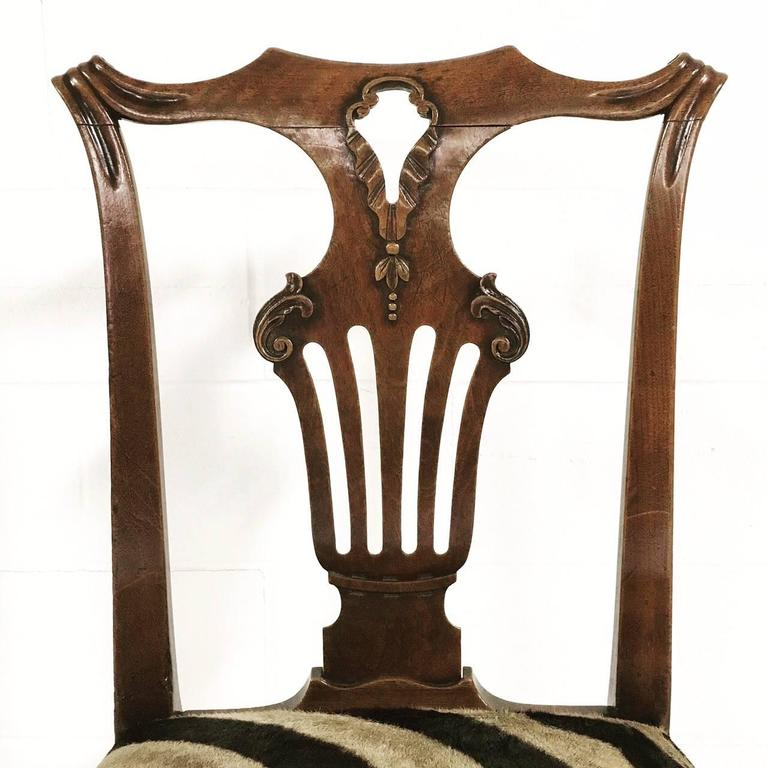18th Century George II Walnut Dining Chairs in Zebra Hide, Set of Eight For Sale 3