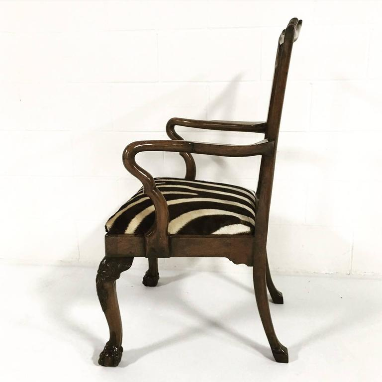 18th Century George II Walnut Dining Chairs in Zebra Hide, Set of Eight For Sale 4