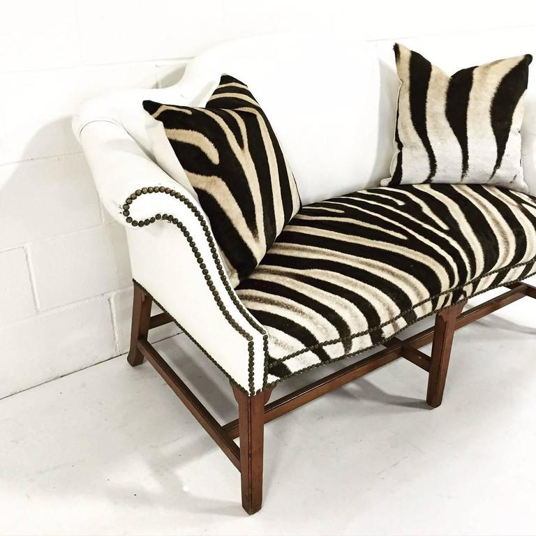 Vintage White Leather And Zebra Hide Loveseat With Two Zebra Hide Pillows At 1stdibs