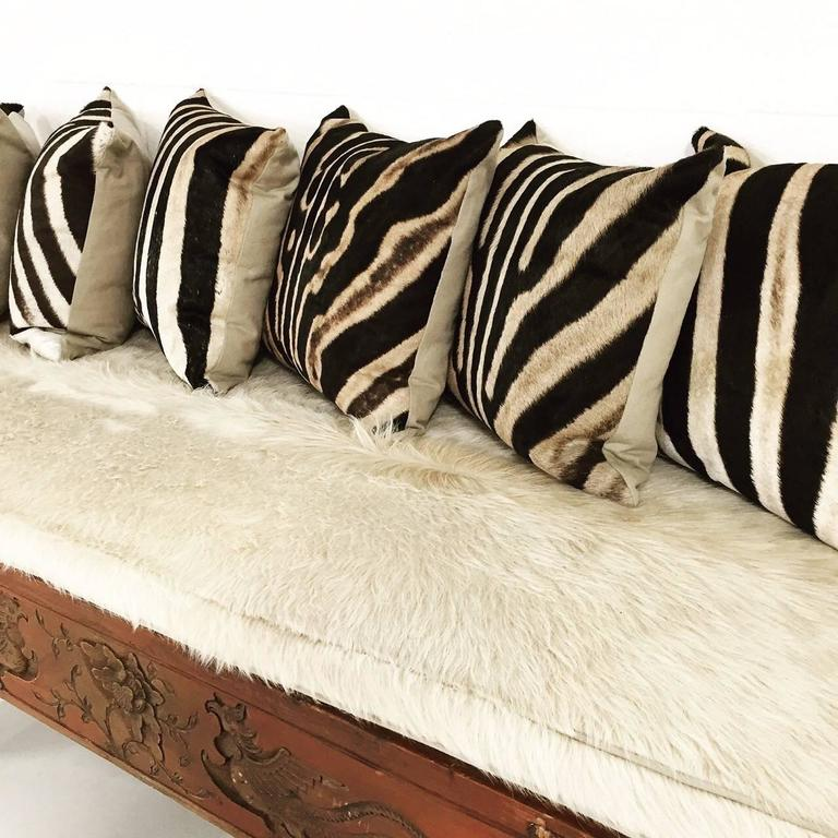 Carved Phoenix Bird Bench With Ivory Cowhide Cushion And