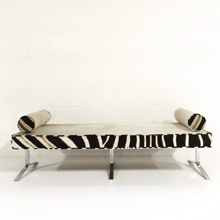Awesome Modern Chrome Bench Restored In Ivory Cowhide And Zebra Hide Andrewgaddart Wooden Chair Designs For Living Room Andrewgaddartcom