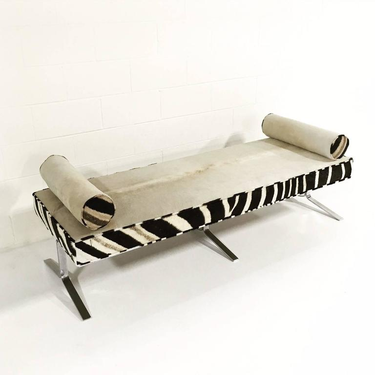 Modern Chrome Bench With Ivory Cowhide And Zebra Hide For