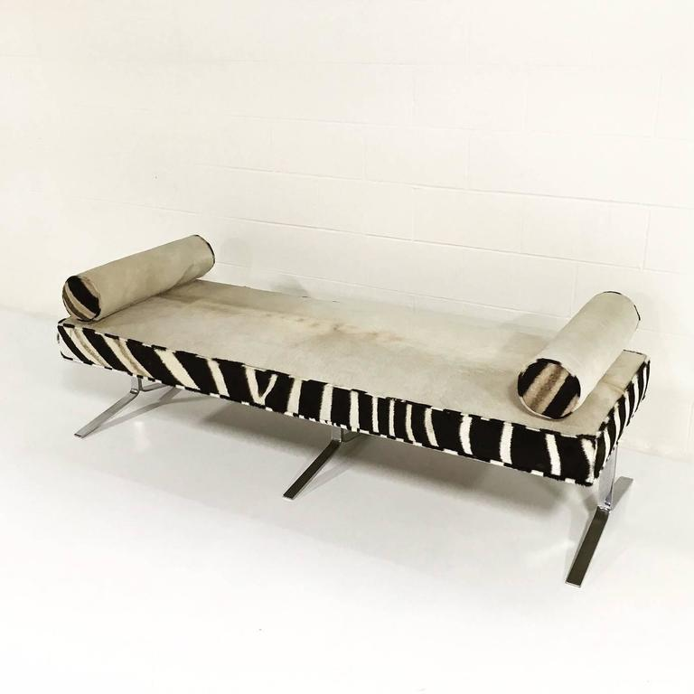 Modern Chrome Bench With Ivory Cowhide And Zebra Hide For Sale At 1stdibs