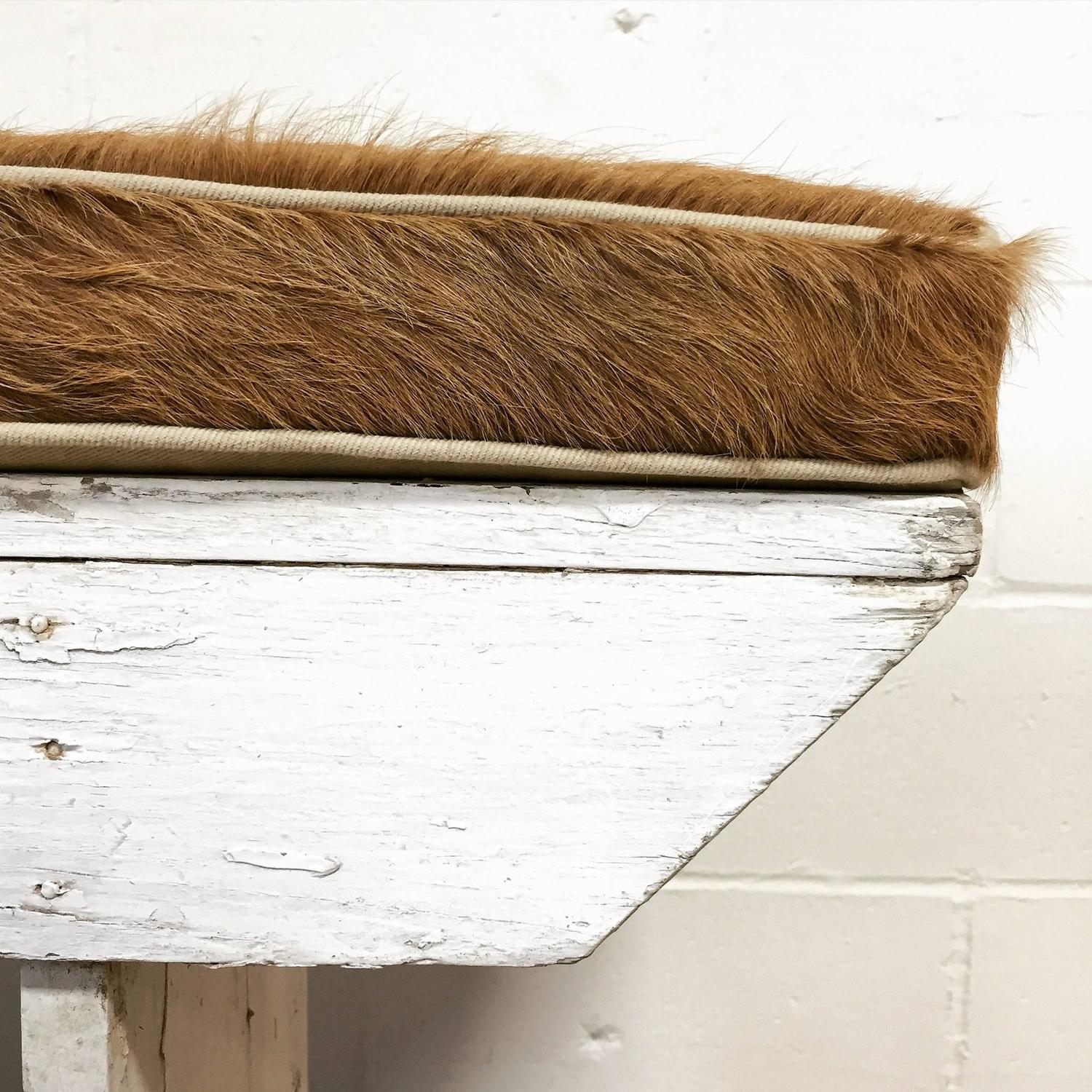 Vintage Farmhouse Bench with Palomino Cowhide Cushion at 1stdibs