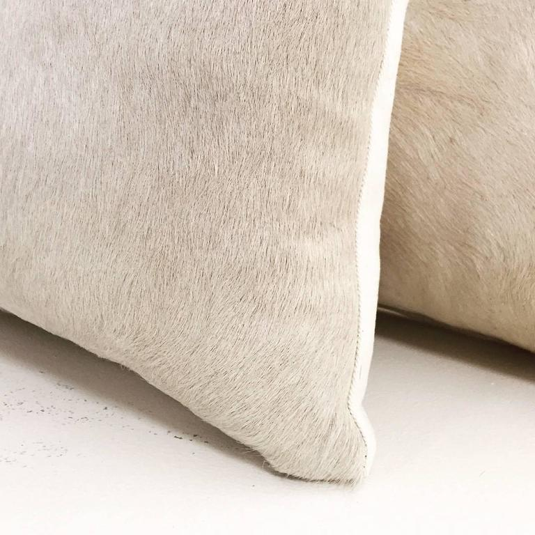 Pair Rare Ivory Cowhide Pillows 2