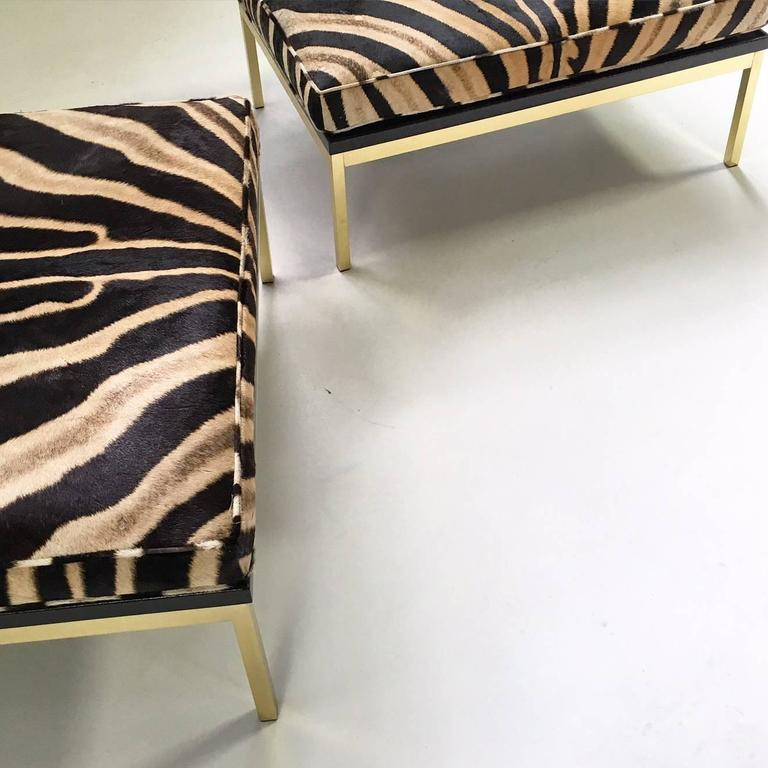 Pair Of Knoll Style Zebra Hide And Brass Ottomans At 1stdibs