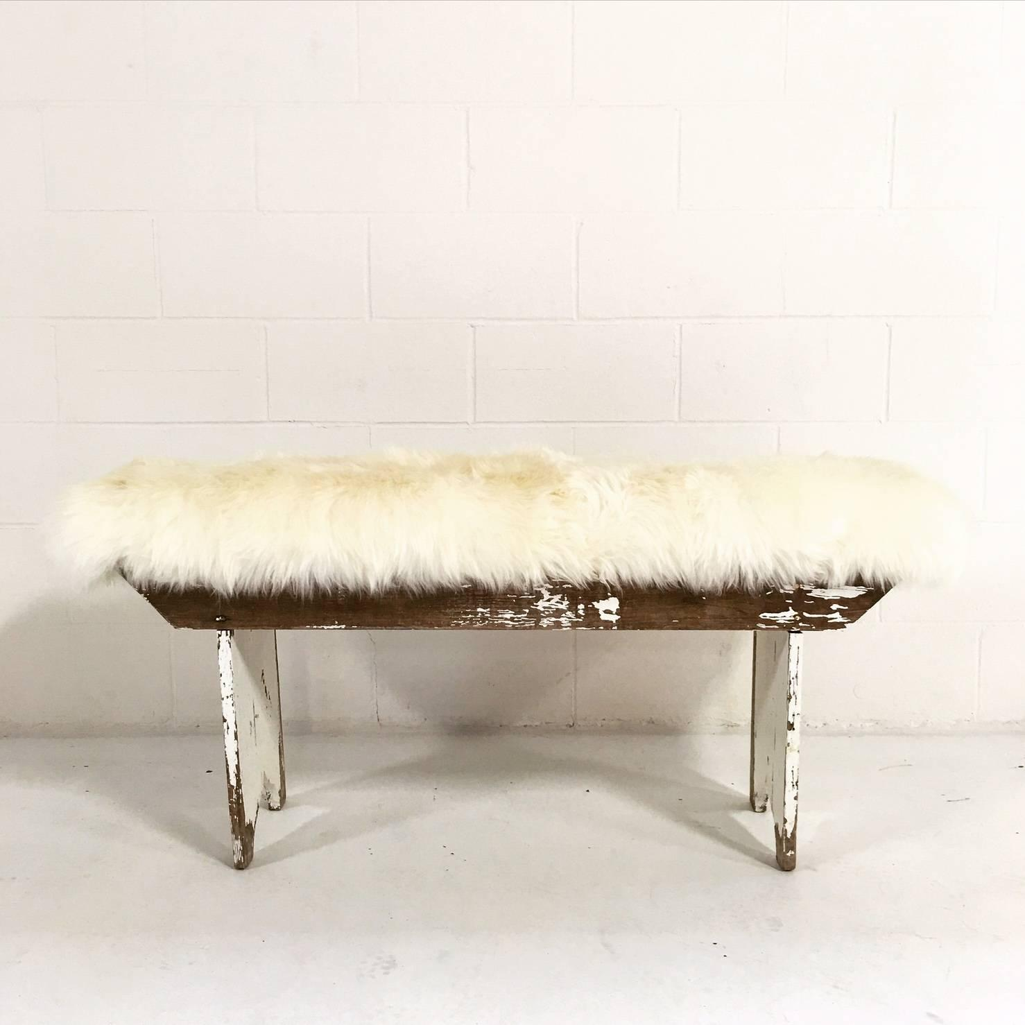 Vintage White Pine Farmhouse Bench with Sheepskin Cushion at 1stdibs