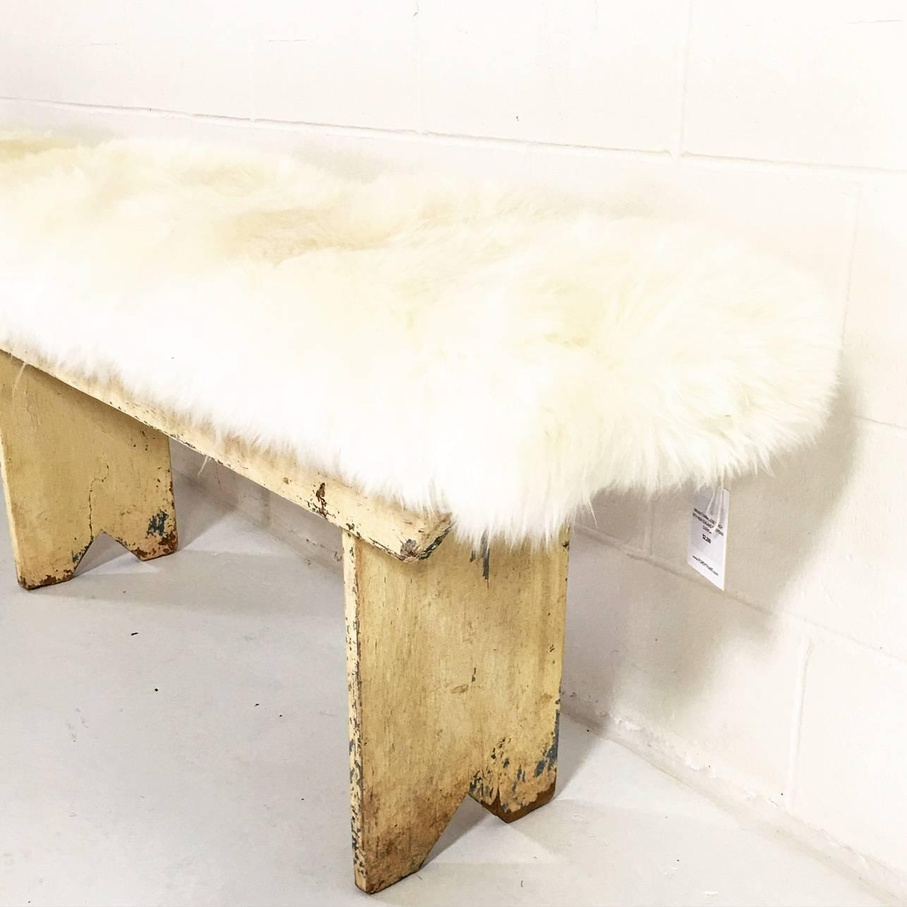 Vintage Walnut Farmhouse Bench with Sheepskin Cushion For Sale at 1stdibs