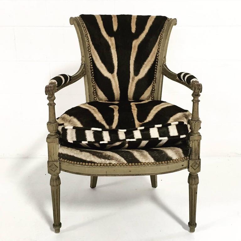 Vintage French Boudoir Chair In Zebra Hide At 1stdibs