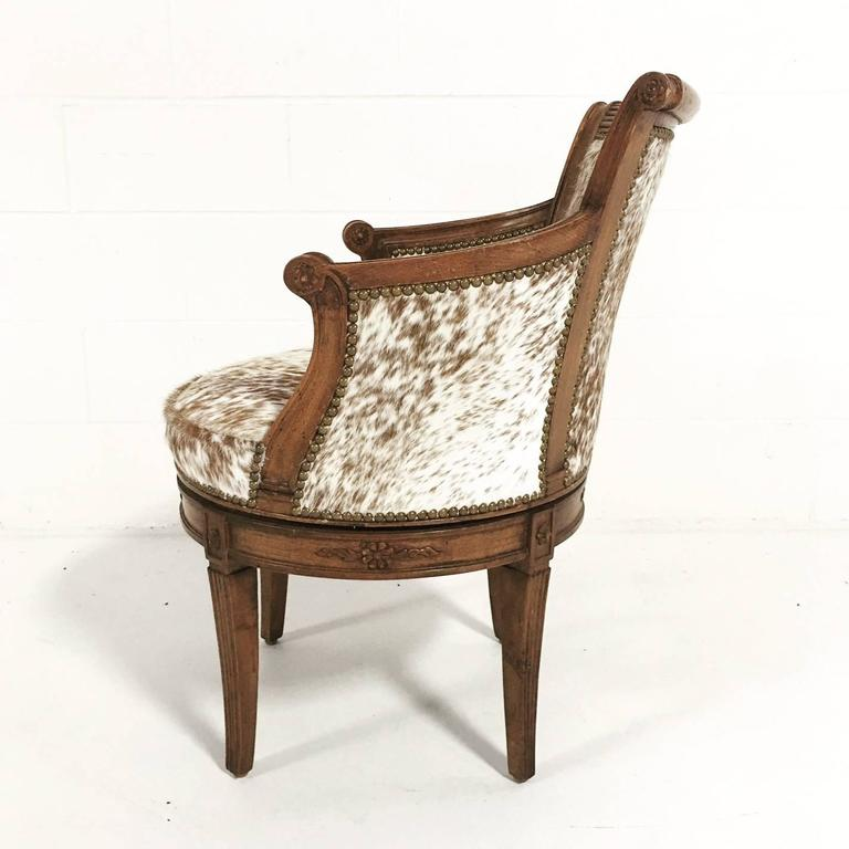 Vintage Swivel Chair In Brown And White Speckled Brazilian