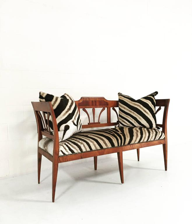 19th Century Fruitwood And Rosewood Settee In Zebra Hide