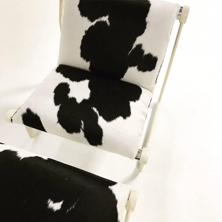 Stupendous Morrison Hannah For Knoll Chair Ottoman In Black White Brazilian Cowhide Short Links Chair Design For Home Short Linksinfo