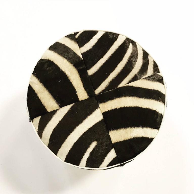 Zebra Hide Pouf Ottoman At 1stdibs
