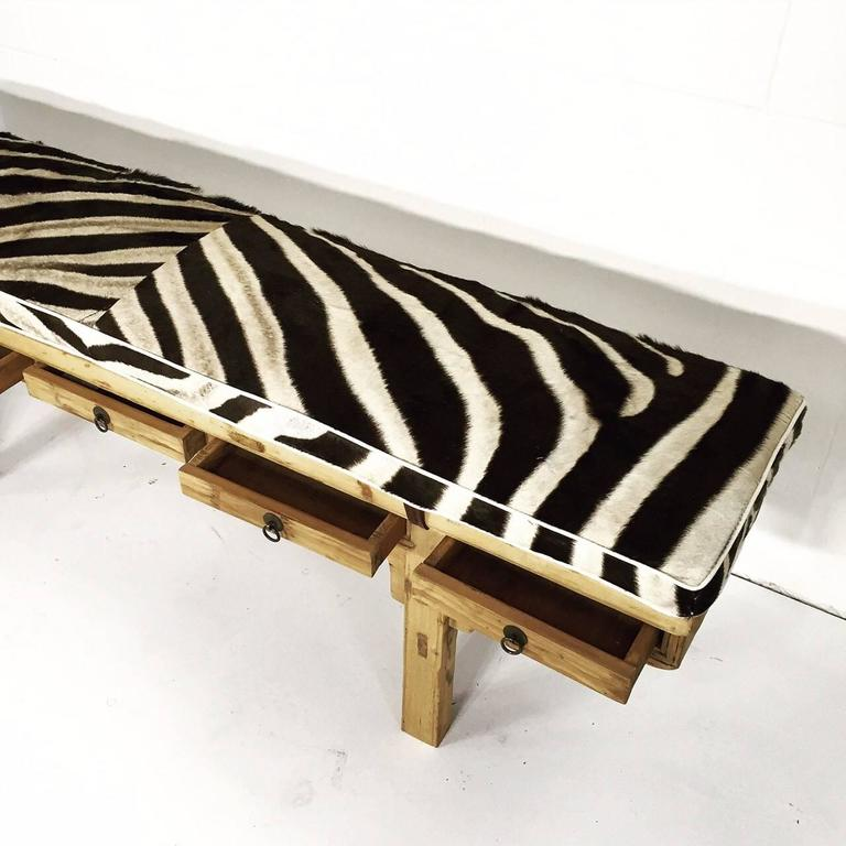 Calligrapher Five-Drawer Bench with Zebra Hide Cushion In Good Condition For Sale In SAINT LOUIS, MO