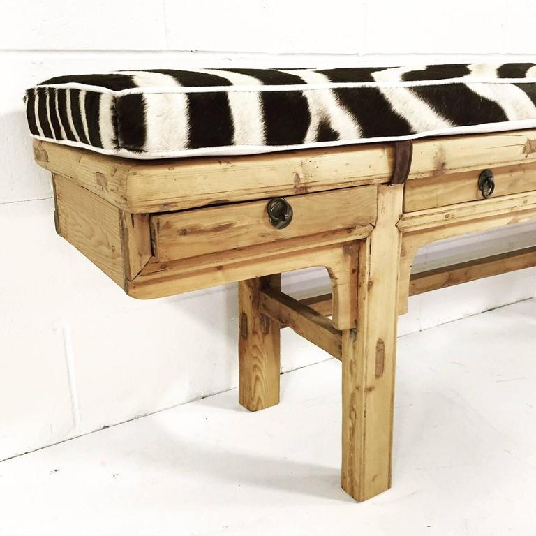 Mid-20th Century Calligrapher Five-Drawer Bench with Zebra Hide Cushion For Sale