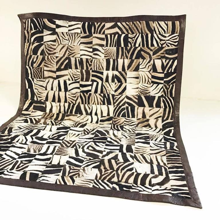 One of a Kind Zebra Hide Mosaic Area Rug 2