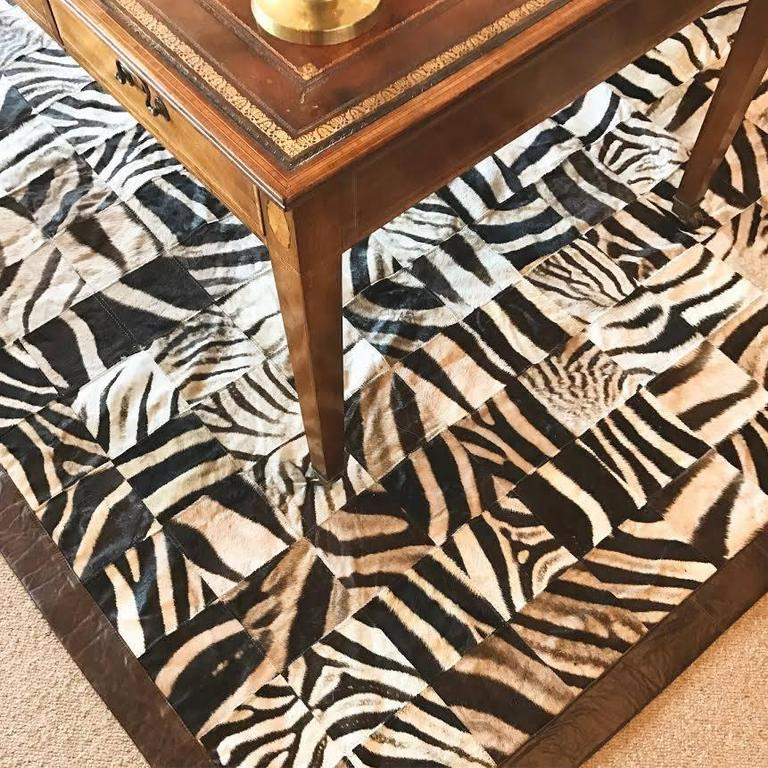 American One of a Kind Zebra Hide Mosaic Area Rug For Sale