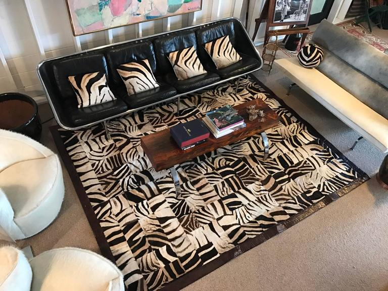 One of a Kind Zebra Hide Mosaic Area Rug 4