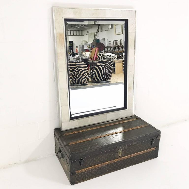 Bevelled mirror in ivory cowhide patchwork and silver for Silver framed mirrors on sale