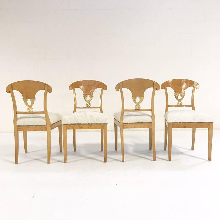 Austrian Set of Four Satin Birch Biedermeier Chairs in Ivory Brazilian Cowhide circa 1820 For Sale
