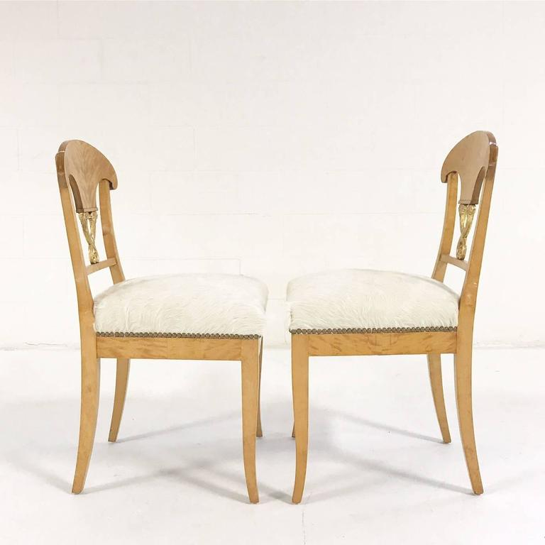 Set of Four Satin Birch Biedermeier Chairs in Ivory Brazilian Cowhide circa 1820 In Excellent Condition For Sale In SAINT LOUIS, MO