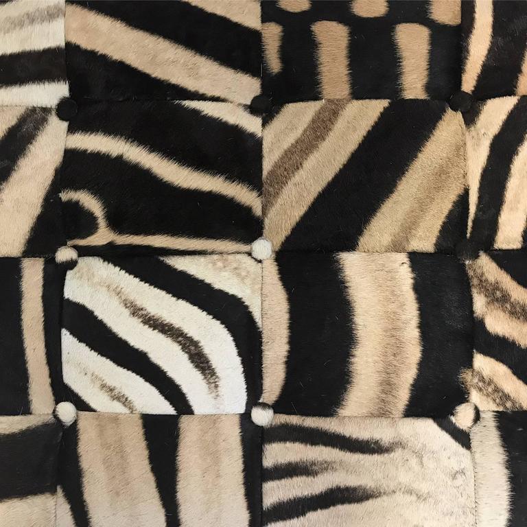 Forsyth Patchwork Zebra Hide Ottoman At 1stdibs