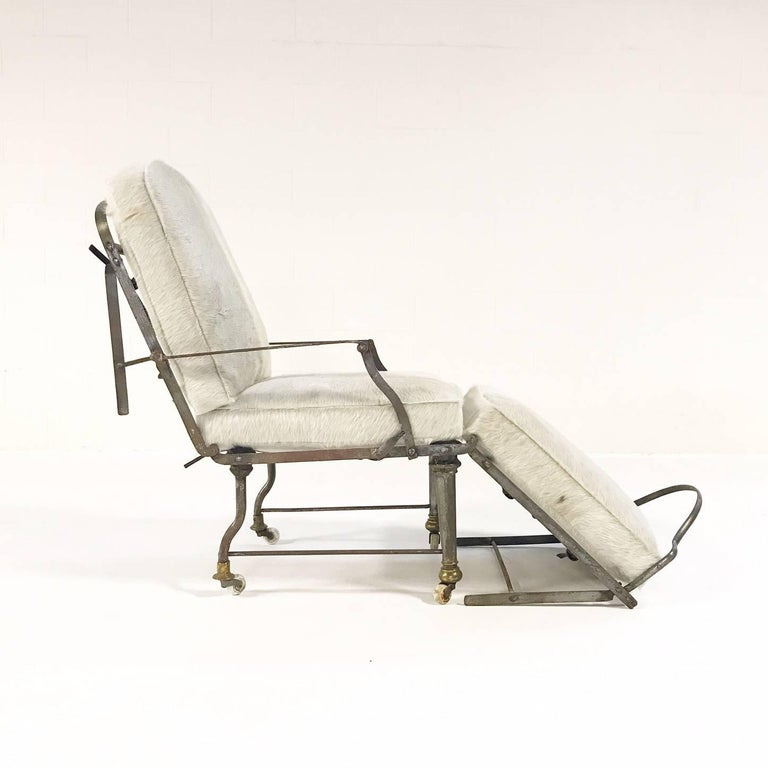 Antique french metal campaign chaise chair with custom brazilian cowhide cush - Chaise metal vintage ...